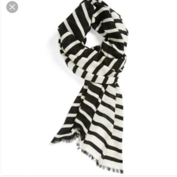 kate spade black white stripe reversible scarf nwo